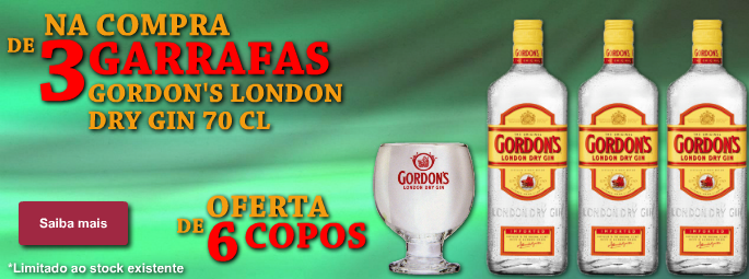 Gordons dry gin - 3 garrafas 6 copos
