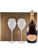 Шампанское Ruinart с двумя бокалами-«флейтами» розовое
