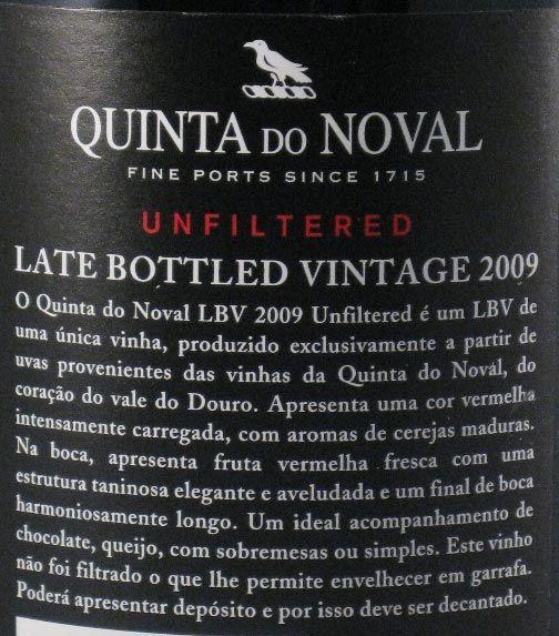 2009 Noval LBV Unfiltered Port