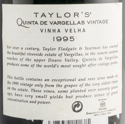 1995 Taylor's Quinta das Vargellas Vinha Velha Vintage Porto (rótulo assinado)