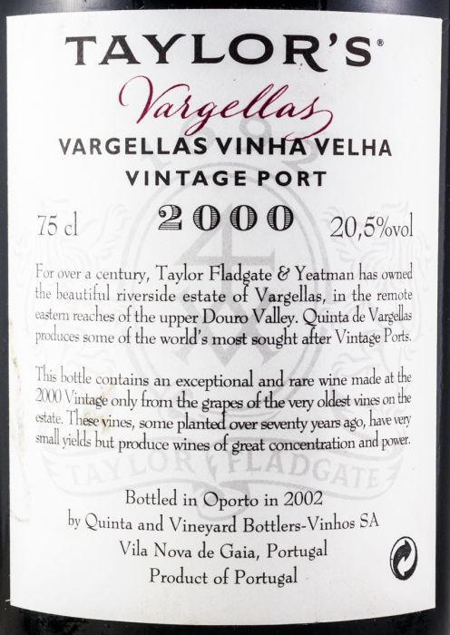 2000 Taylor's Quinta das Vargellas Vinha Velha Vintage Porto