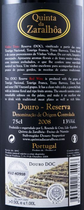 2008 Quinta da Zaralhôa Reserva red