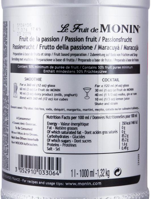 Fruit Puree Passion Fruit Monin Maracujá 1L