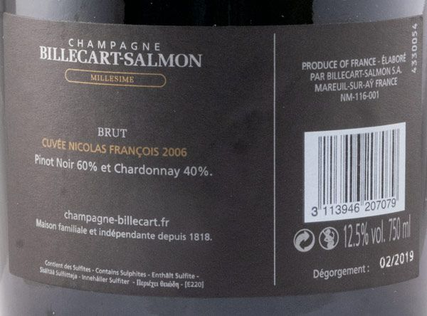 2006 Champagne Billecart-Salmon Cuvée Nicolas Francois Brut