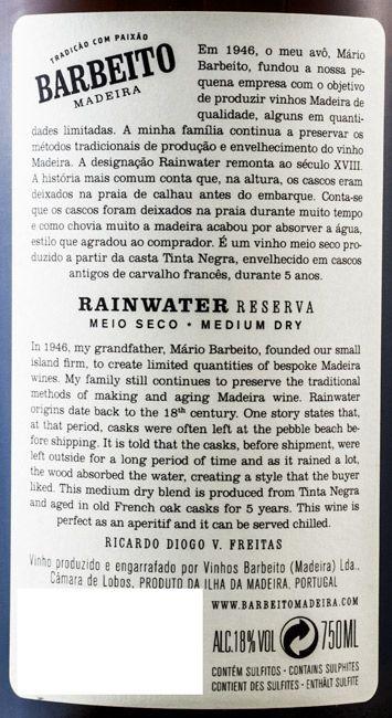 Madeira Barbeito Rainwater Meio Seco 5 anos