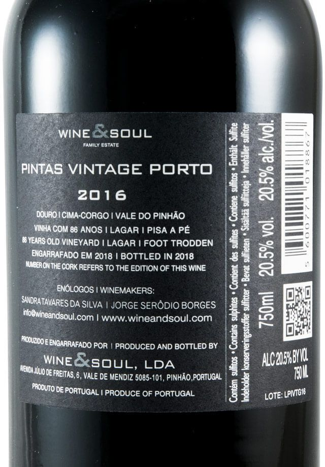 2016 Wine & Soul Pintas Vintage Porto