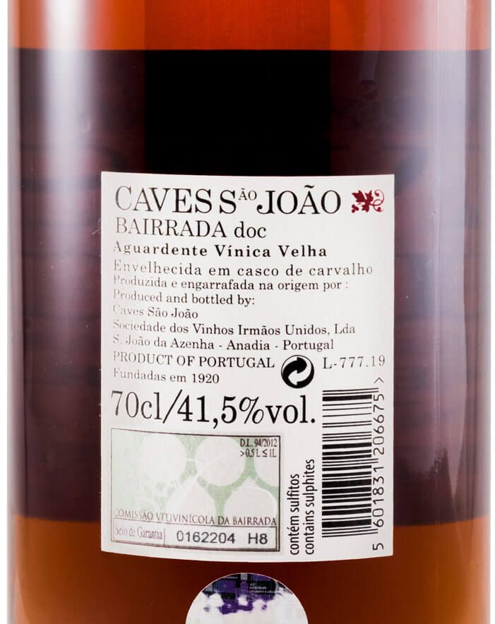 Aguardente Vínica Caves São João Velha (rótulo em cortiça)