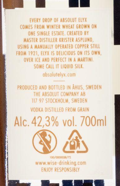 Vodka Absolut Elyx 70cl