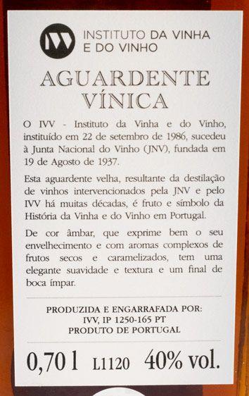 Aguardente Vínica IVV Reserva 40 anos
