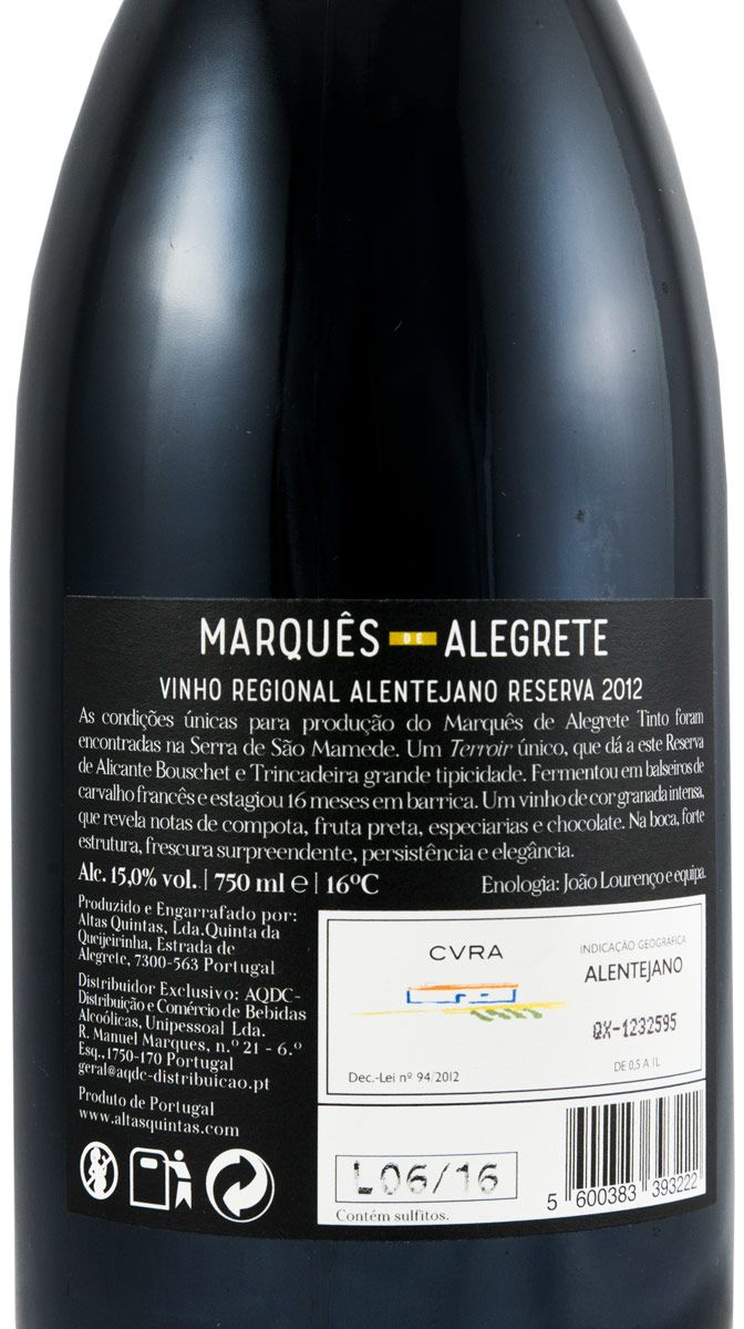 2012 Marquês de Alegrete Reserva tinto