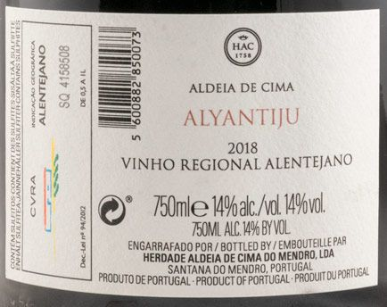 2018 Herdade Aldeia de Cima Alyantiju tinto