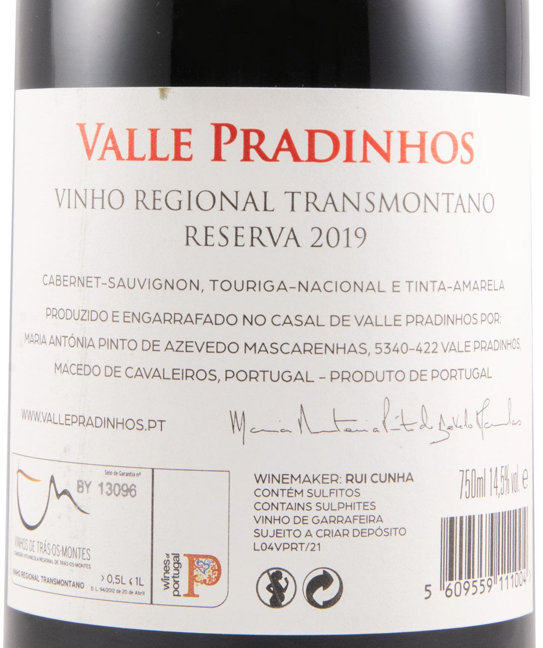 2019 Valle Pradinhos Reserva tinto