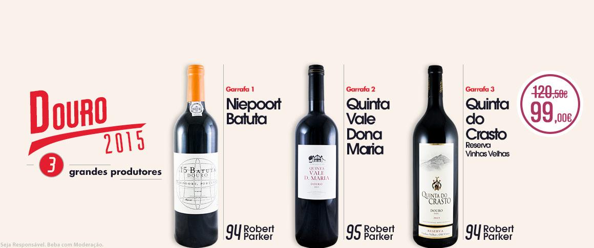 Uma seleção de três vinhos tintos de excelência. Três dos melhores produtores do Douro e com reconhecimento internacional, +94 pontos Robert Parker