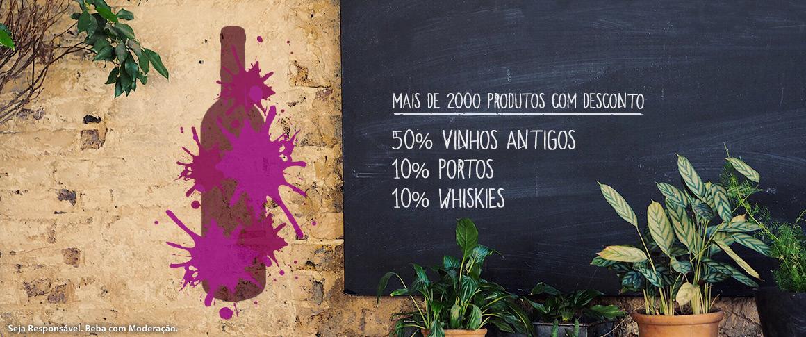Aproveite esta oportunidade para adquirir vinhos antigos, Portos e Whiskies a um preço verdadeiramente especial.   Campanha apenas visível para clientes com sessão iniciada, desconto direto.